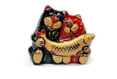 Ермиловская игрушка, сувенир «Коты с рыбой» с хохломской росписью.