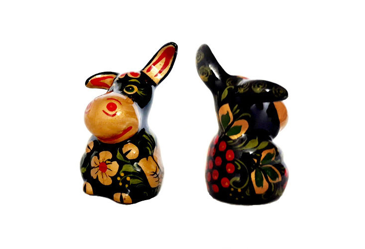 Ермиловская игрушка, сувенир «Ослик» с хохломской росписью.