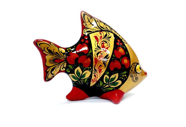 Ермиловская игрушка, сувенир «Рыбка» с хохломской росписью.