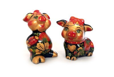 Ермиловская игрушка, сувенир «Поросята» с хохломской росписью.