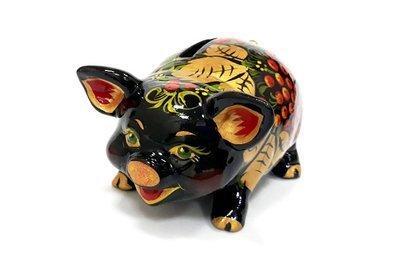Ермиловская игрушка, копилка «Свинья» с хохломской росписью.