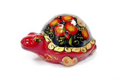 Ермиловская игрушка, сувенир «Черепашка» с хохломской росписью.