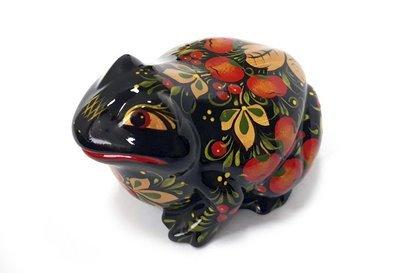 Ермиловская игрушка, сувенир «Лягушка» с хохломской росписью.