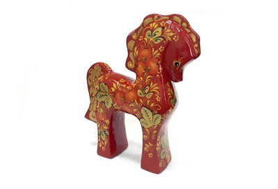 Ермиловская игрушка, сувенир «Сивка-Бурка» с хохломской росписью.