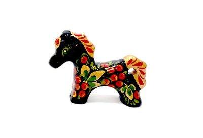 Ермиловская игрушка, сувенир «Жеребенок» с хохломской росписью.