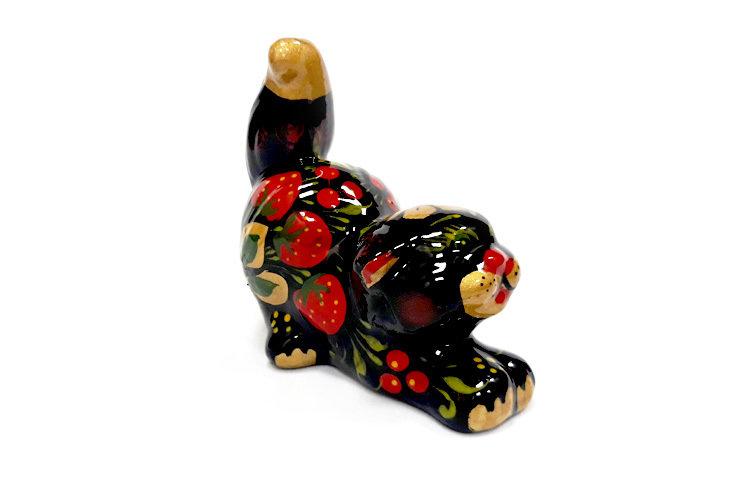 Ермиловская игрушка, сувенир «Кошка» с хохломской росписью.