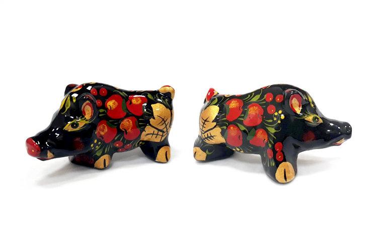 Ермиловская игрушка, сувенир «Кабанчик» с хохломской росписью.