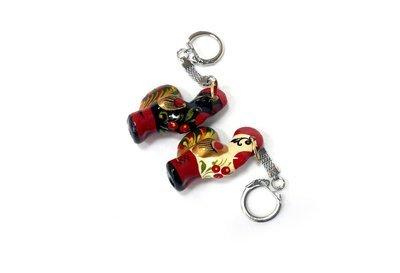 Ермиловская игрушка, сувенир «Брелок керамический петушок» с хохломской росписью.