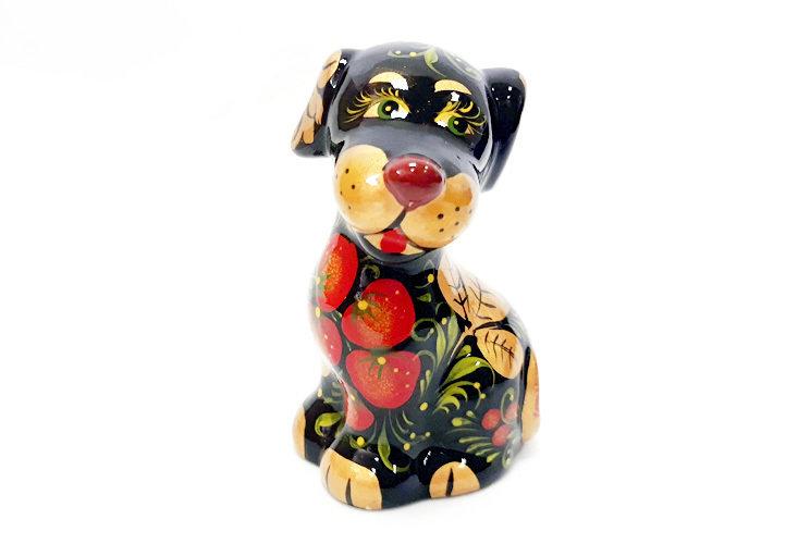 Ермиловская игрушка, сувенир «Песик» с хохломской росписью.