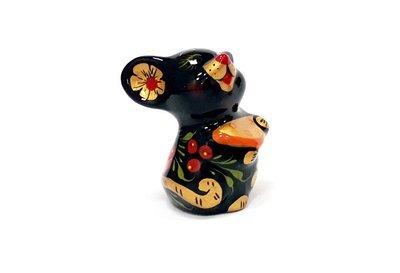 Ермиловская игрушка, сувенир «Мышка» с хохломской росписью.