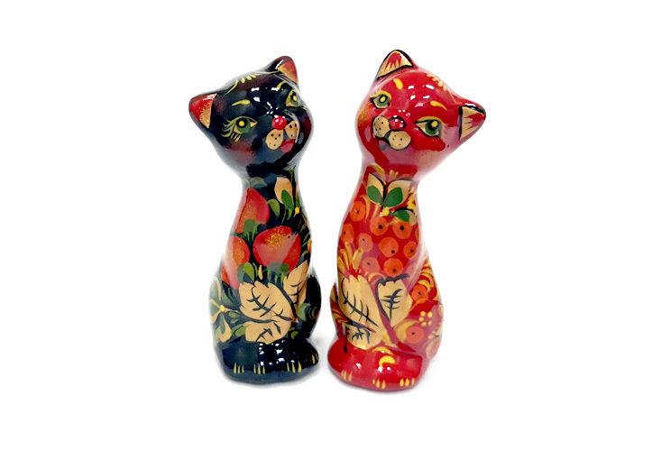 Ермиловская игрушка, сувенир «Кошки» (пара) с хохломской росписью.