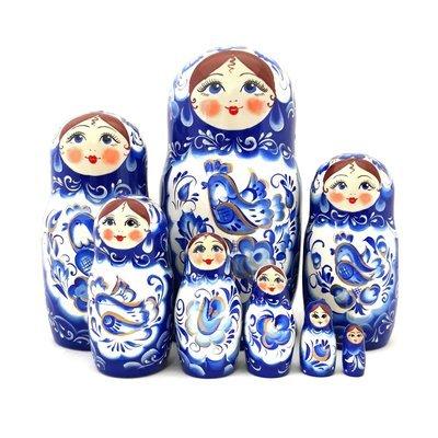 Матрёшка Семеновская авторская «Гжель» 8 кукол (20 см) (опт)