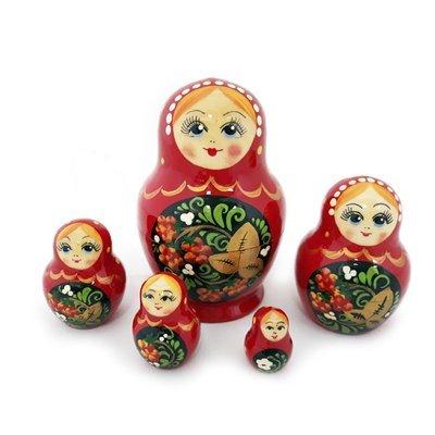 Матрёшка Семеновская «Катюша» Хохлома 5 кукол (опт)