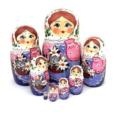 Матрёшка Семеновская «Кошка в лукошке» авторская 8 кукол (опт)
