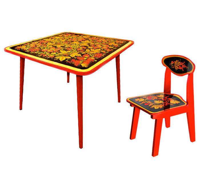 Стол детский квадратный «Осень» и стульчик (окрашен.ножки) с хохломской росписью 0-1-2-3 рост.кат.