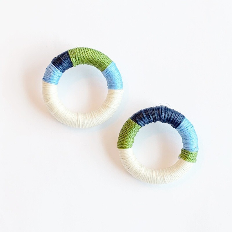 Navy, Green, Light Blue & Cream Earrings