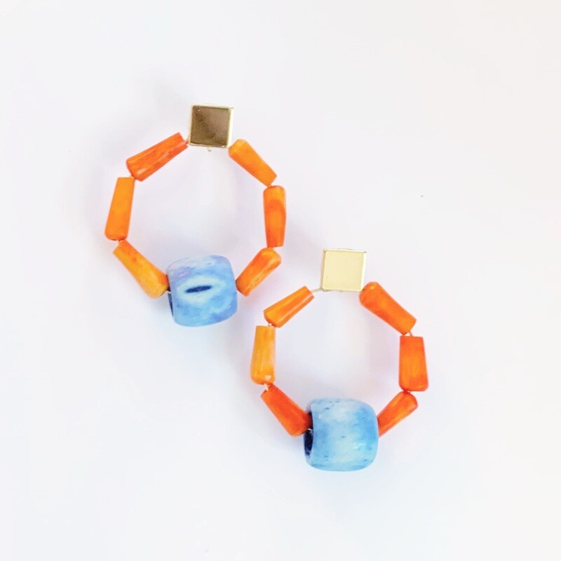 Bamboo Bone Earrings: Orange & Blue