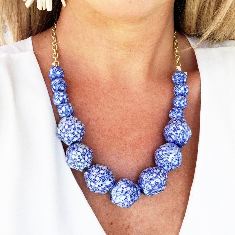 Blue & White Collar Necklace