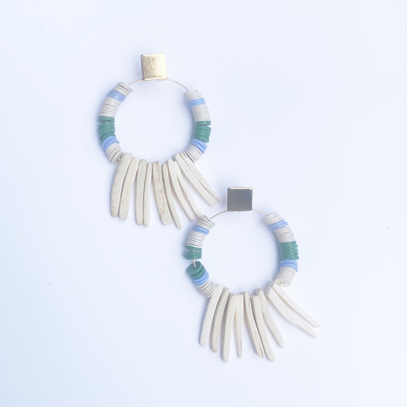 Light Blue & Green Earrings