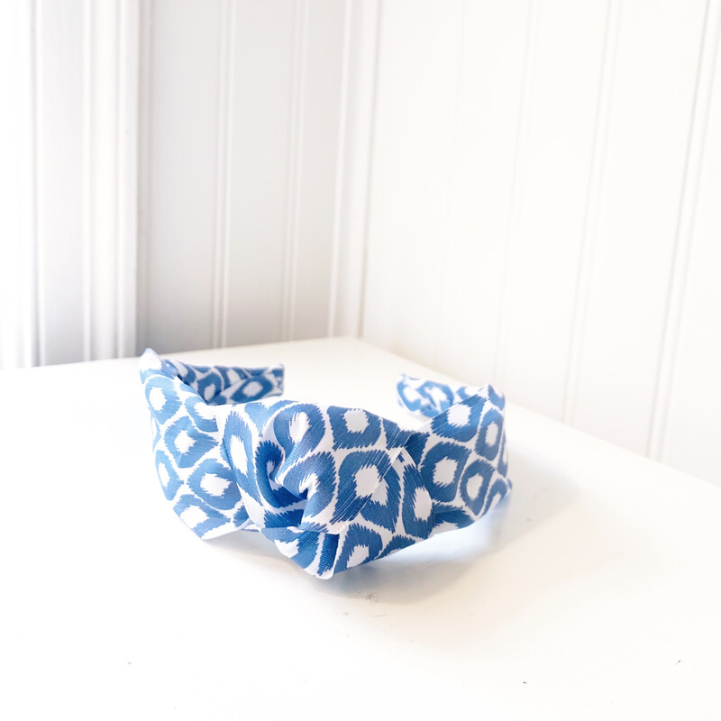 Blue & White Knotted Headband