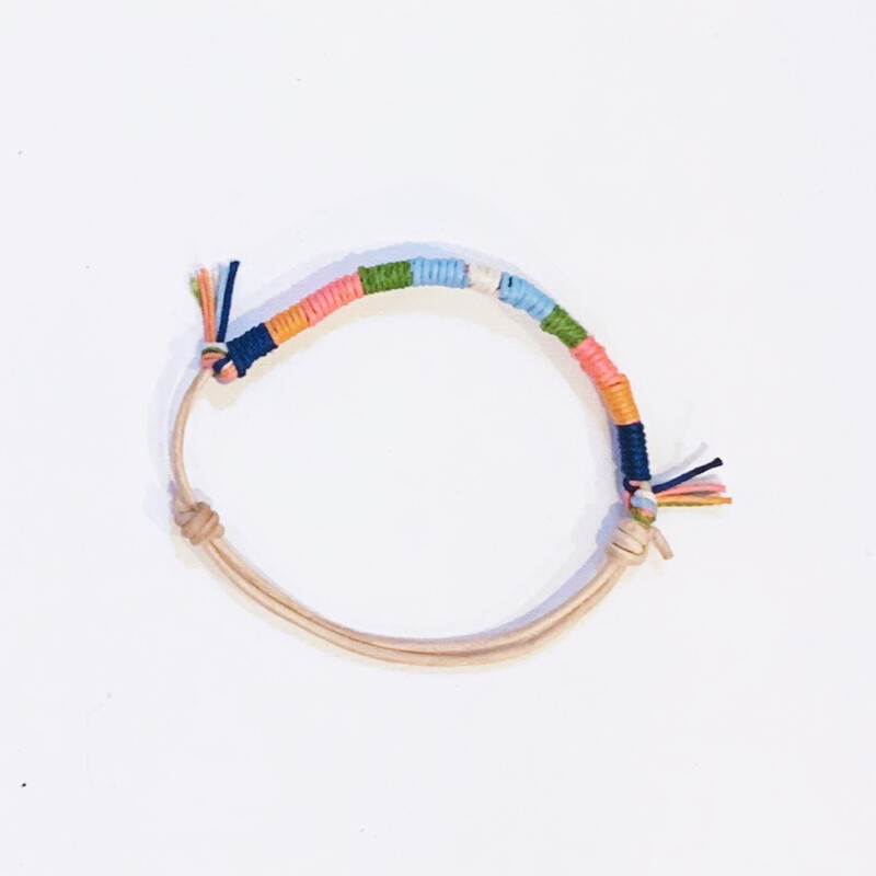Rainbow Adjustable Leather Anklet
