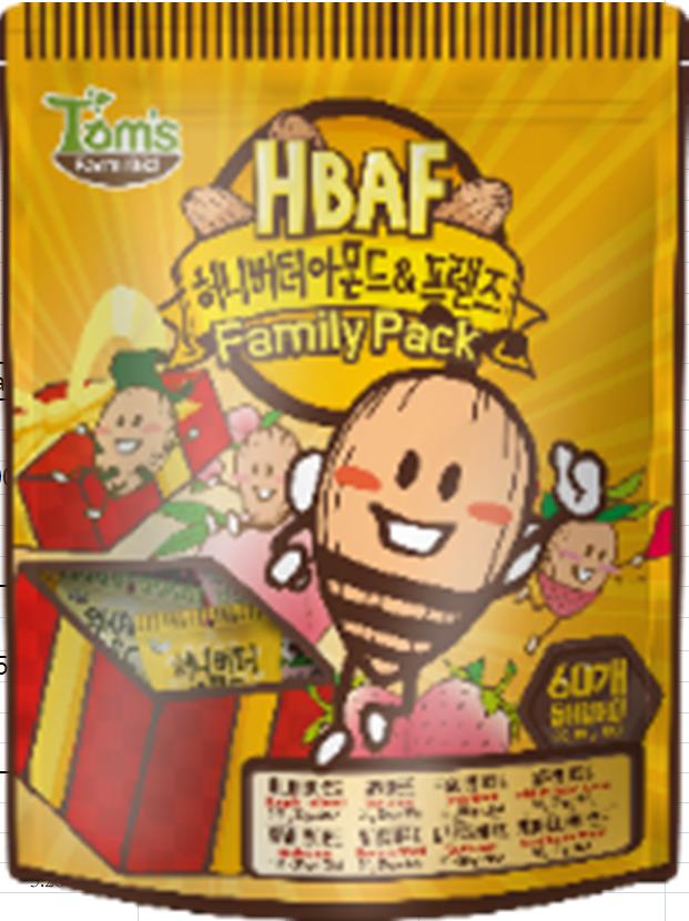 蜂蜜牛油杏仁迷你裝60小包(600克)