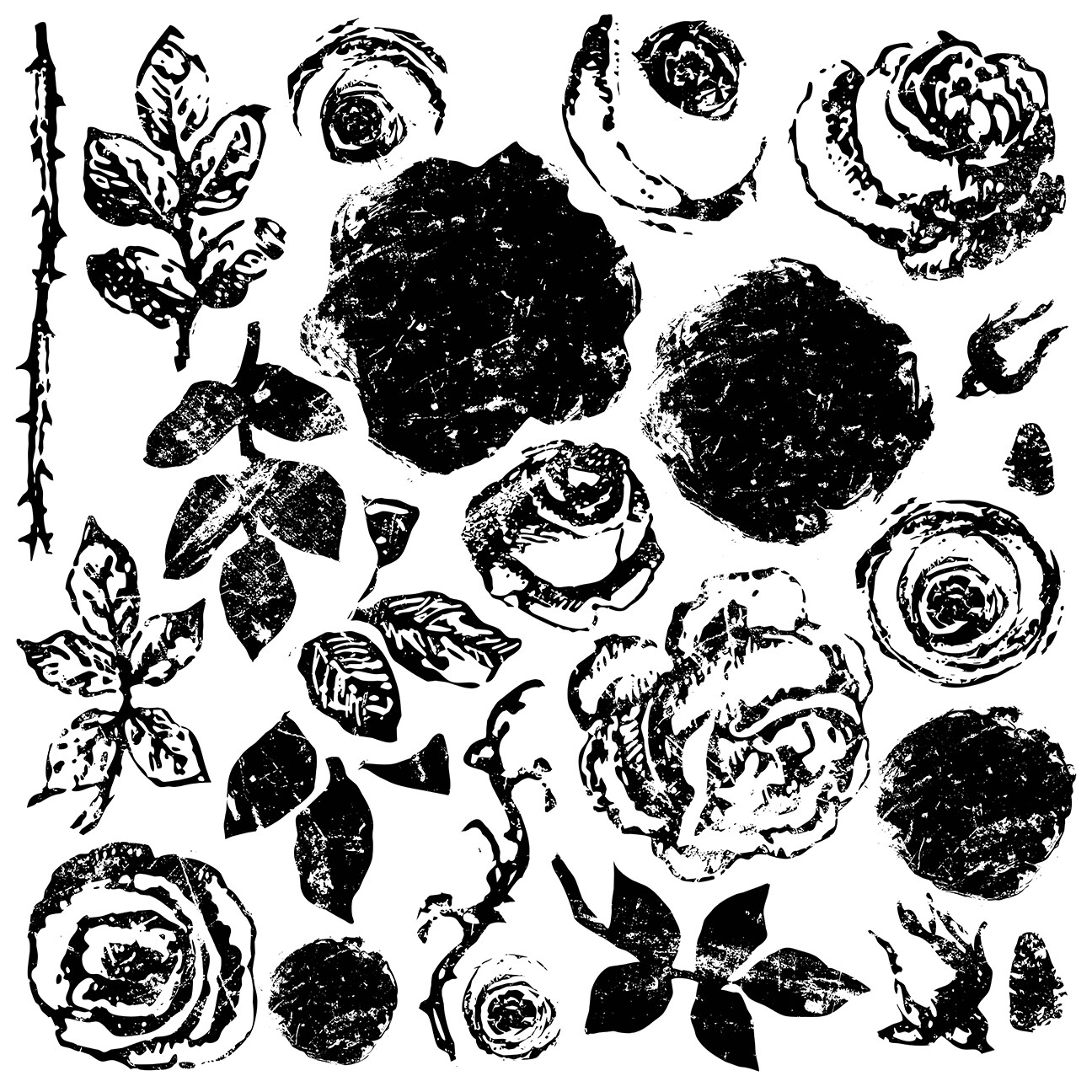 """IOD Painterly Roses 12"""" x 12"""" Décor Stamp"""