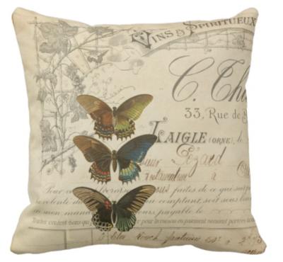 Butterfly Ephemera Throw Pillow