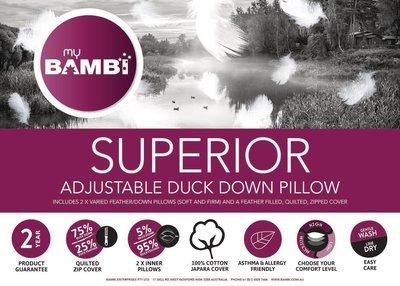 Bambi Superior Adjustable Duck Down Pillow