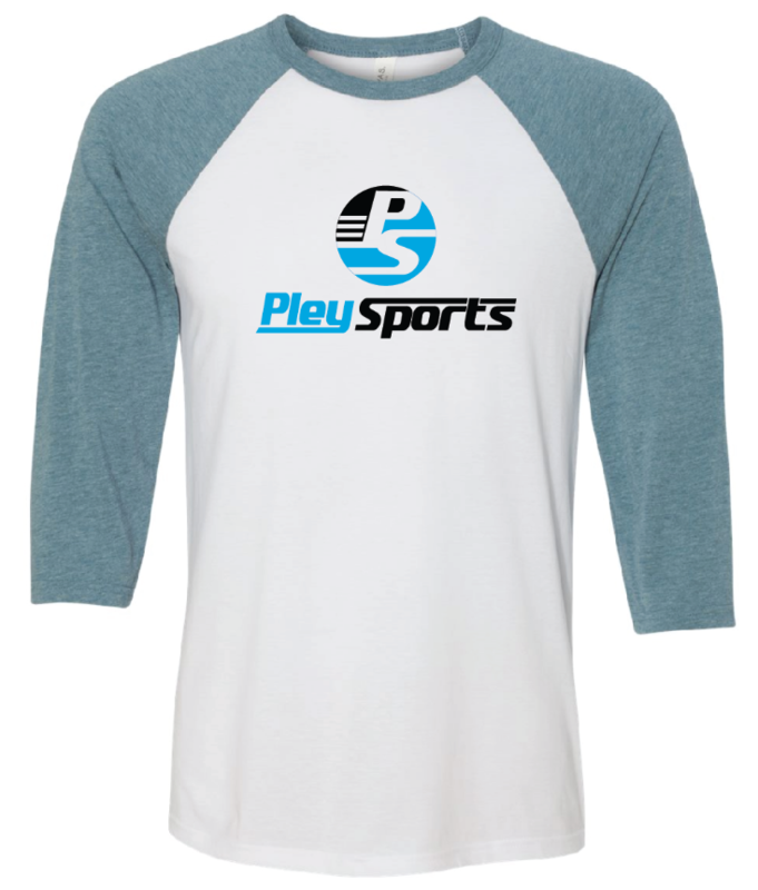 3/4 Sleeve Baseball Tee (White/Denim Triblend)