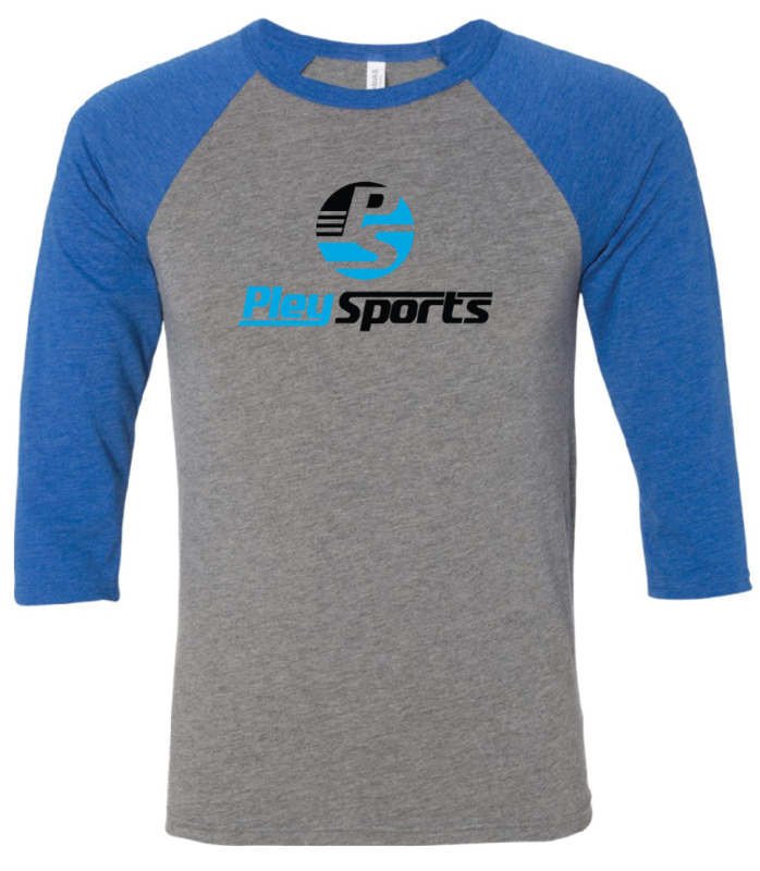 3/4 Sleeve Baseball Tee (Grey/True Royal Triblend)
