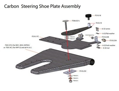 Complete Steering Shoe Plate Mounted on Footboard