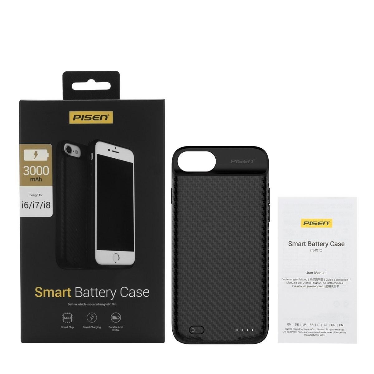Pisen Smart Battery Case for iPhone 6/7/8, 3000MAH