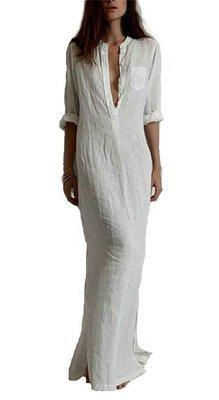 Split V-Neck Straight Maxi Dress