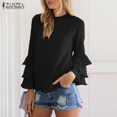 Long Sleeve Solid Blusas Casual Loose