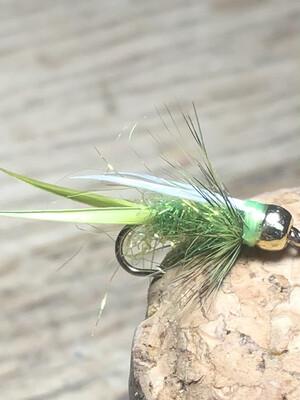 Ice Dub Prince Nymph Fly Fishing Fly Caddis Green Size 12 Bead Head