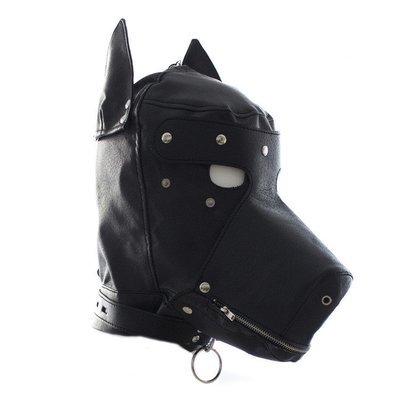 PU Leather Puppy Play Bondage Mask w/Blindfold