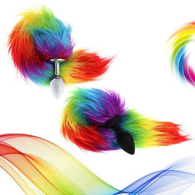 Rainbow / Gay Pride Fox Tail (2 Colors)