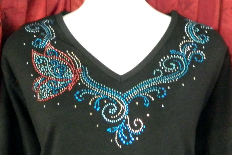 Butterfly Aqua & Pink  V-Neckline (embellished  sleeves)