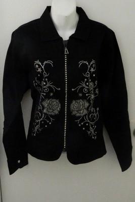 Sexy NEW  EMBELLISHED    Denim Jacket /Crystal Zipper   - ROSE DESIGN