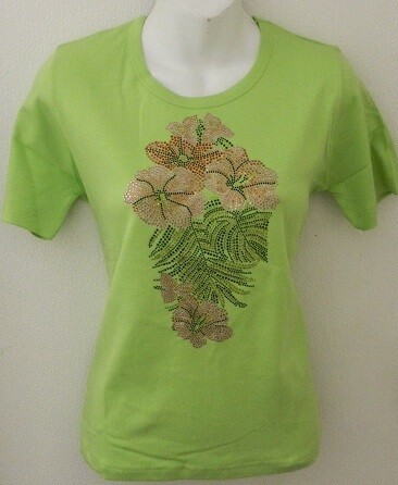 Hibiscus Flower & Palm Leaves