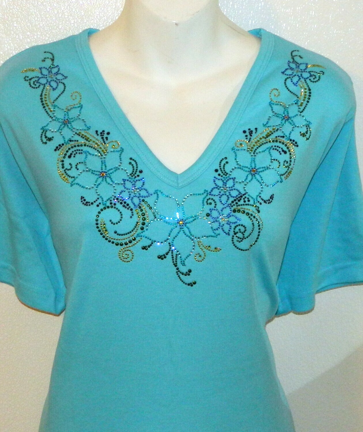 Green & Aqua Flower vneckline