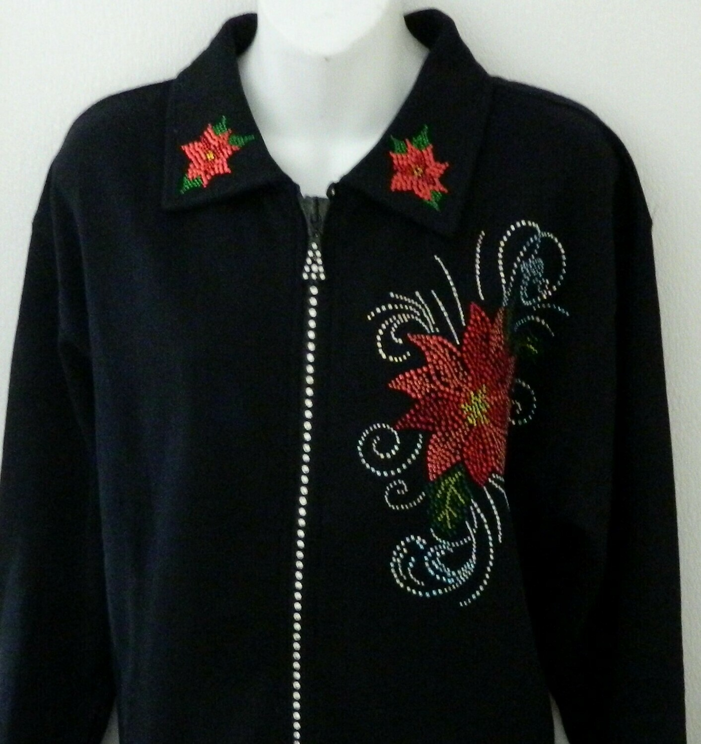 CHRISTMAS DESIGN Rhinestone Crystal Zippered Cardigans