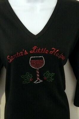 Santa's Little Helper  -Wine Glass