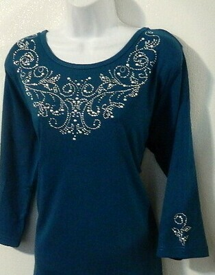 Vintage neckline AB & Pearl studs   - 3 pieces  design embellished  sleeves