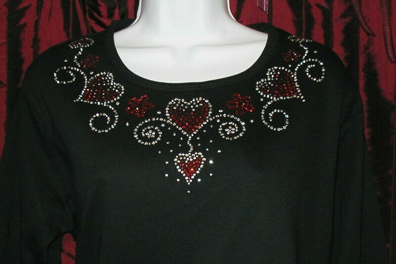 HEART RD NECKLINE Red & Clear Rhinestones w sleeve embellishment