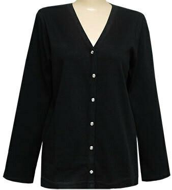Elegant V-Neck Crystal Button Cardigan - Plain