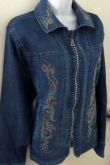 Denim Jacket /Crystal Zipper    Blue & Gold Embellishment