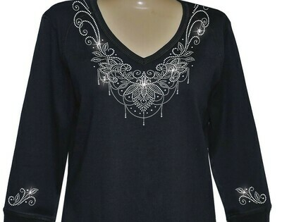 AVA Neckline w Embellished Sleeves