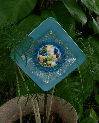 Blue SQUARE Plate w center design